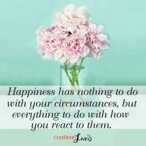 Happiness has nothing to do with your circumstances, but everything to do with how you react to them.