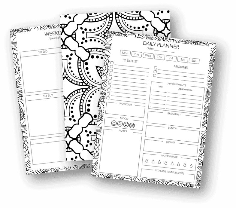 printable coloring daily planner