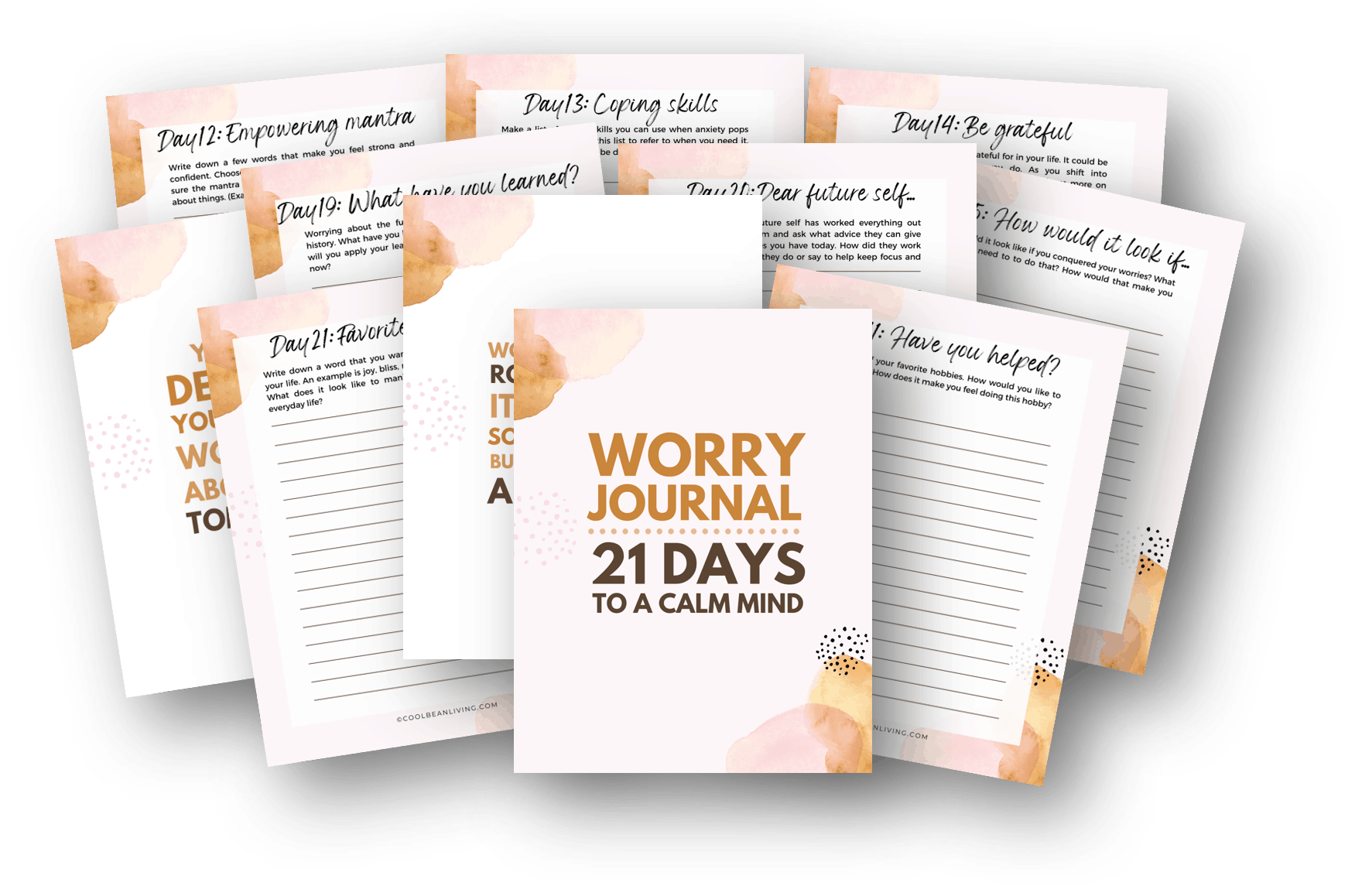 worry journal, 21 days to a calm mind